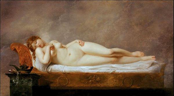 名画 絵画 油絵 Anne-Louis de Roucy-Trioson_ Girodet 送料込 プシュケーの眠り 定番から日本未入荷