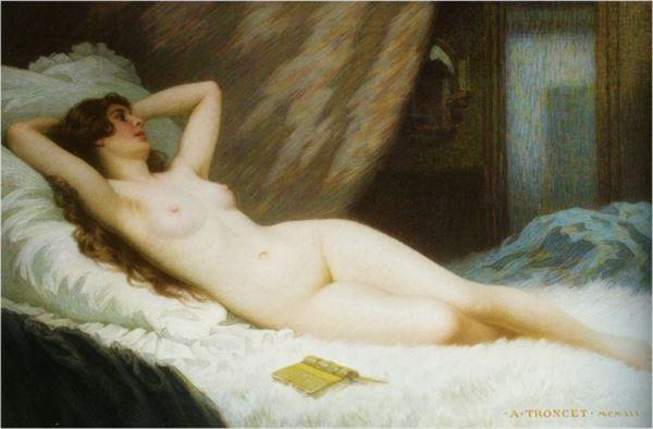 人気海外一番 名画 絵画 格安 価格でご提供いたします 油絵 Antony Troncet 休息 French_