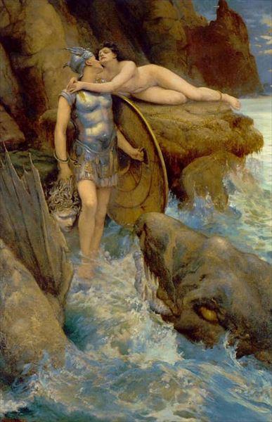 油絵 Charles Napier Kennedy_ペルセウスとアンドロメダ
