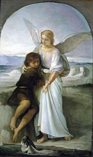 名画 絵画 油絵 いつでも送料無料 スーパーセール トビアスと天使 Eduardo Rosales_