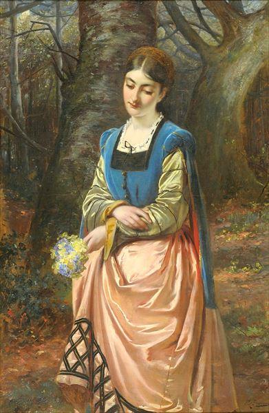 名画 絵画 油絵 Edward Charles Barnes_ 花束を手にする少女 10%OFF 限定特価