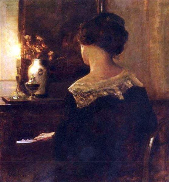 油絵 Carl Vilhelm Holsoe_ピアノを奏でる女