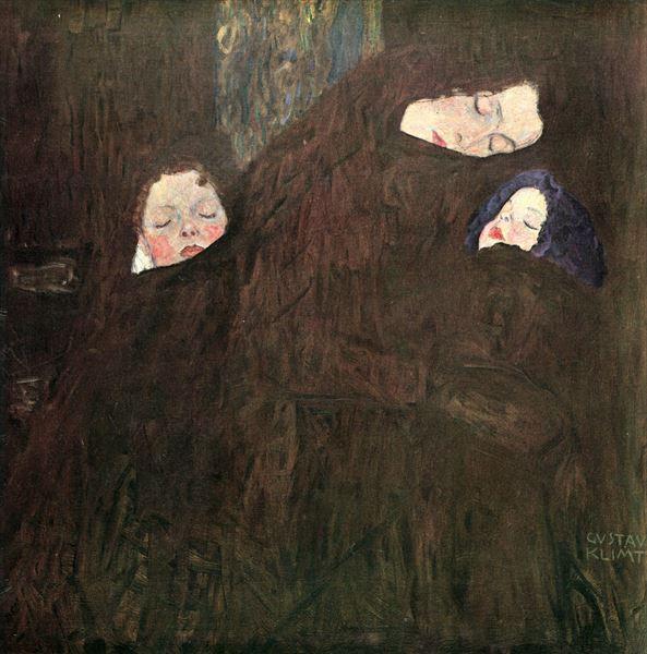 油絵 グスタフ・クリムトの名作_子を抱く母