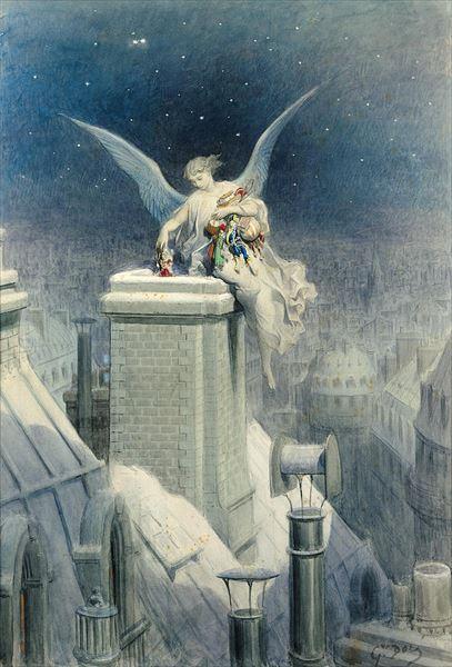 名画 絵画 爆買い送料無料 油絵 Gustave 与え 部分 クリスマスの前夜 Dore_