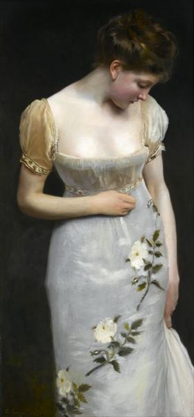 !超美品再入荷品質至上! 名画 絵画 油絵 選択 Gustave Jacquet_ Jean Mademoiselle令嬢