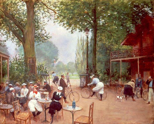 油絵 ジャン・ベロー_ ブーローニュの森でのサイクリングと山小屋