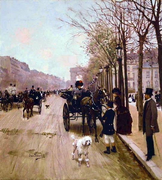 油絵 ジャン・ベロー_ シャンゼリゼ通りの馬車
