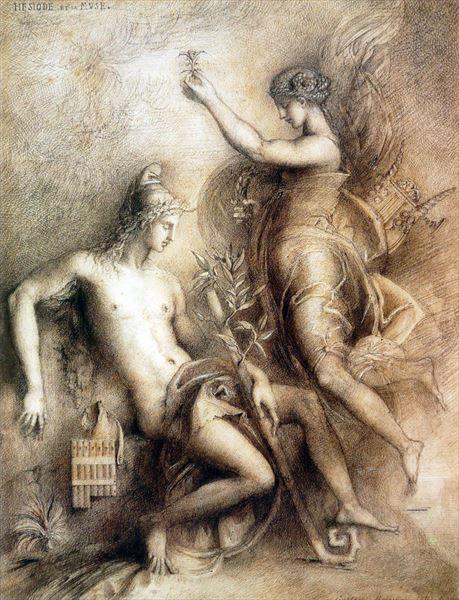 名画 返品送料無料 絵画 ふるさと割 油絵 Gustave Moreau_ ヘシオドスとムーサ
