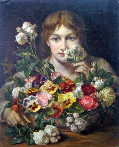 油絵 Jean Francois Portaels_ 花の香り