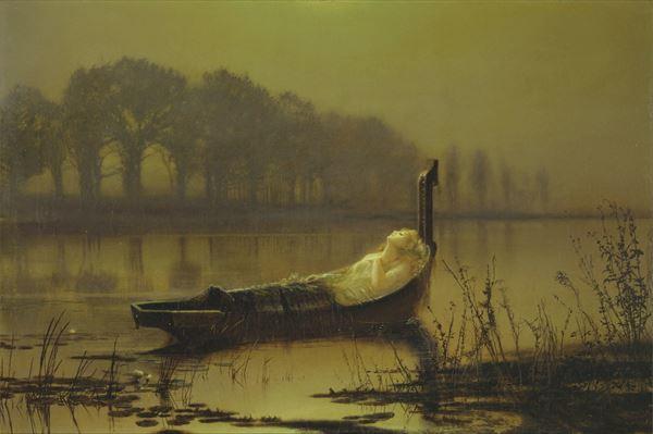 油絵 John Atkinson Grimshawの名作_ シャロットの女