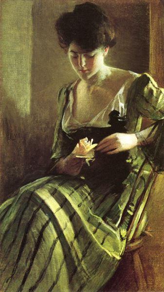 名画 絵画 賜物 捧呈 油絵 John Alexander_ White バラ