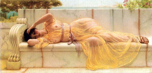 名画 百貨店 絵画 油絵 John 黄色い衣装の女 Godward_ 新商品!新型 William
