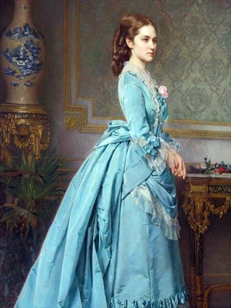 油絵 Karl Theodor Fidorovitch Huhn_ 青のドレス