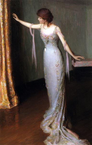 名画 絵画 油絵 セールSALE%OFF Perry_イブニングドレスの女 アウトレット Cabot Lilla