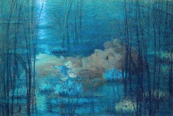油絵 Lucien Levy-Dhurmer_オフィーリア