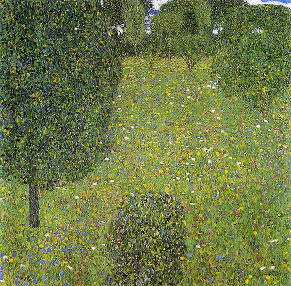 油絵 グスタフ・クリムトの名作_庭園(花の咲く草地)