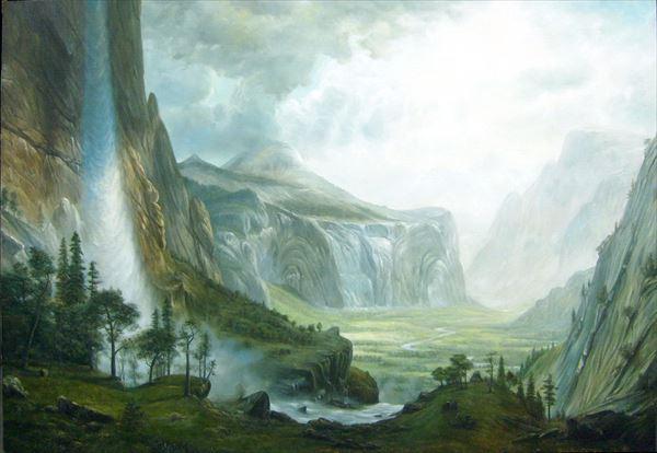 名画 絵画 油絵 日時指定 セール商品 ヨセミテ渓谷