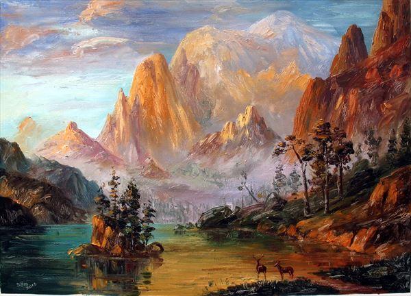 名画 休み 供え 絵画 油絵 ヨセミテ渓谷