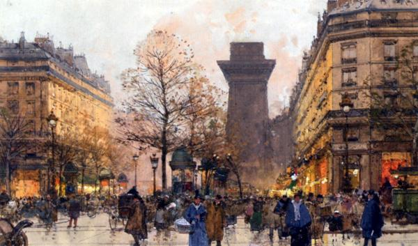 名画 絵画 油絵 引き出物 Eugene パリの夕暮れ Galien-Laloue_ ご注文で当日配送