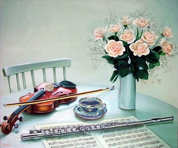 定番から日本未入荷 絵画 油絵 ついに再販開始 机上のバイオリンとフルート