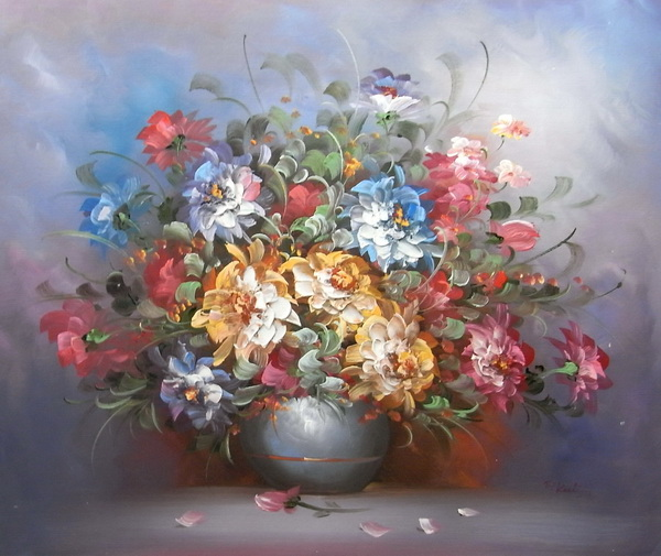 油絵 花瓶の花