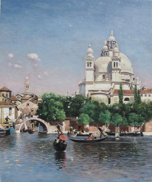 油絵 Ortega Martin Rico y_ サンタマリア教会近くのゴンドラ