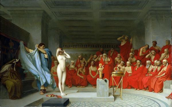 油絵 ジャン=レオン・ジェロームの名作_法廷のフリュネの肉体美