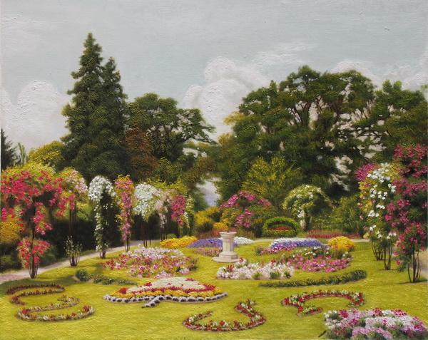 名画 絵画 公式通販 油絵 バラ庭園 Georgeの名作_ Marks 使い勝手の良い