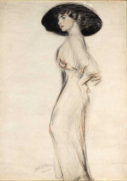 名画 絵画 販売期間 限定のお得なタイムセール 日本限定 油絵 Helleu_帽子をかぶった婦人 Paul César