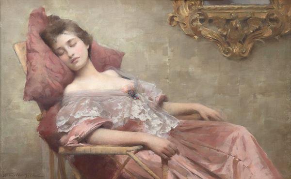 気質アップ 名画 絵画 人気ブランド多数対象 油絵 Samuel Melton Fisher_眠り
