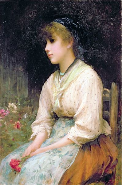 名画 絵画 注目ブランド 油絵 Sir Fildes_ベニスの花売り娘 Luke 激安 激安特価 送料無料 Samuel