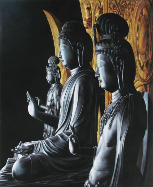 絵画 半額 特価油絵 贈呈 薬師寺 薬師三尊像