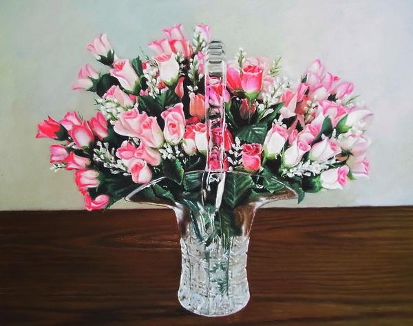 特価油絵 クリスタル花瓶とバラの蕾