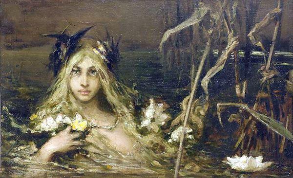 名画 絵画 油絵 現品 お得 A. Kotarbinski_水の精霊 William