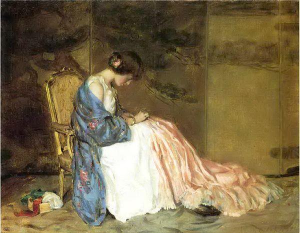 名画 絵画 油絵 売店 William Wallace Jr._パーティドレスを縫う女 Gilchrist 在庫処分