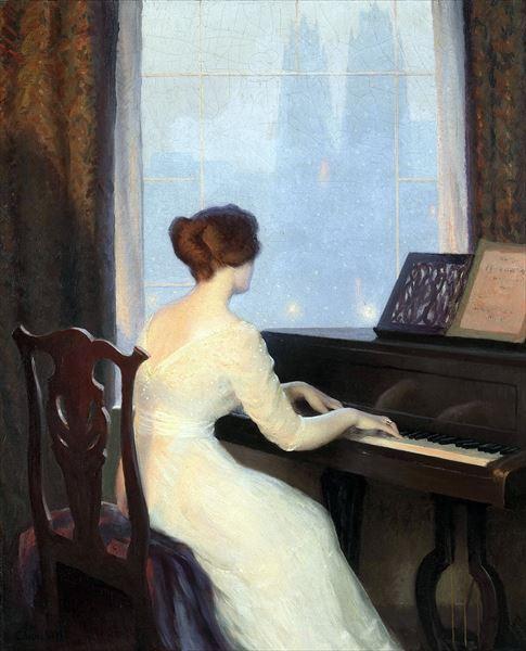 名画 絵画 油絵 Worcester William Churchill_ピアノを奏でる女 日本 好評受付中