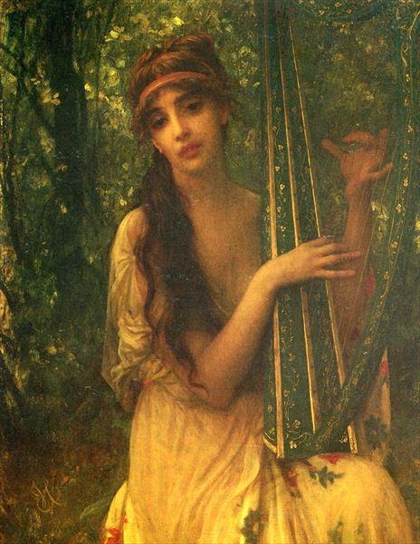 新品 送料無料 名画 1年保証 絵画 油絵 Antoine Ernest Hebert_音楽 Auguste