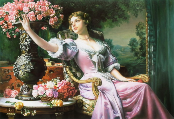 油絵 Wladislaw Czachorski_ 薄紫色ドレスの女と花