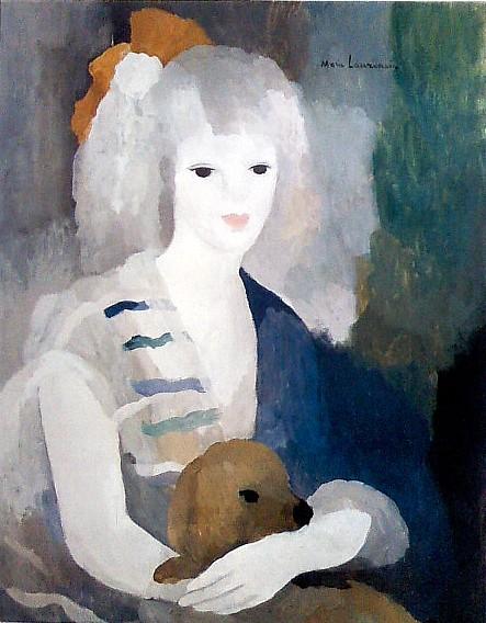 油絵 マリー・ローランサン_女と犬