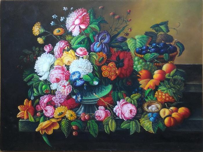 特価油絵(板絵) 卓上の花