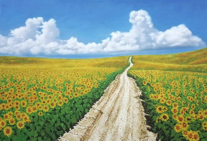 買取 絵画 油絵 アンダルシアのひまわり畑 供え