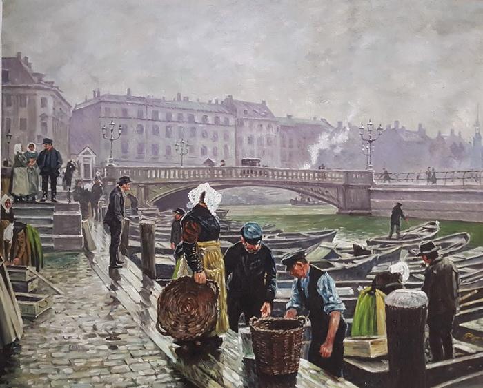 名画 絵画 油絵 Paul モデル着用&注目アイテム Gustave Gammel Strand Fischer_ コペンハーゲン 買い取り の漁港