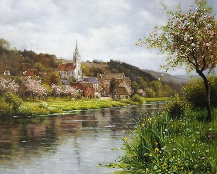 油絵 Louis Aston Knight_ セーヌ川沿いの教会