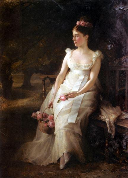 名画 購買 絵画 2020 新作 油絵 Edward Hughes_薔薇を手にする女