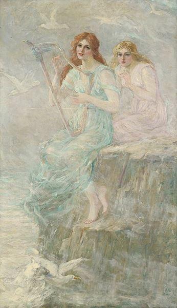 名画 安心の定価販売 絵画 油絵 Frederick 受注生産品 Church_美声の海の魔女サイレン Stuart
