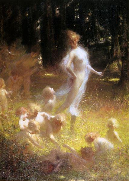 名画 絵画 油絵 Georges 最安値 捧呈 Picard_妖精と幼い妖精