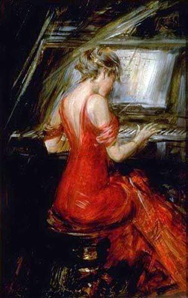 名画 絵画 油絵 Boldini_ピアノを弾く赤いドレスの女 Giovanni 新品■送料無料■ 現金特価
