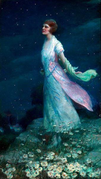 名画 SALE 絵画 油絵 Harold Brett_夏の月夜 即出荷