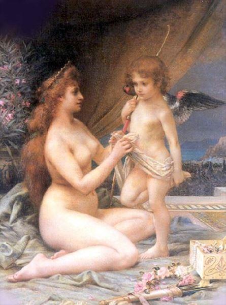 油絵 Henri-Camille Danger_アフロディテとエロス
