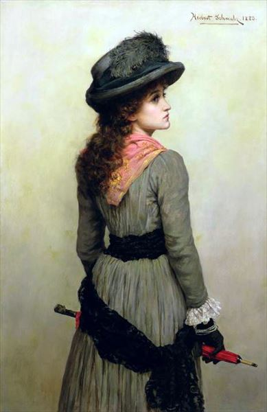 名画 絵画 ファッション通販 油絵 Schmalz_赤い傘を持つ若い女 スピード対応 全国送料無料 Herbert Gustave